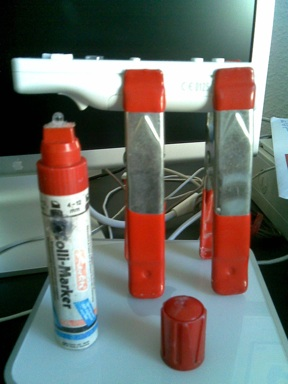 My IR pen and Wiimote with its customised stand